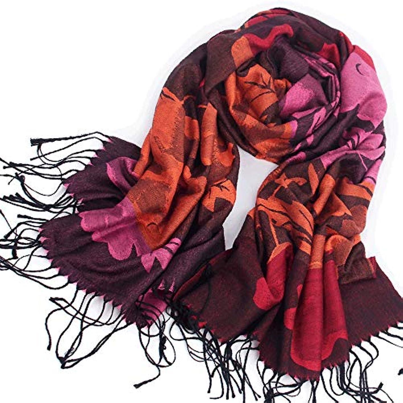 認める依存人類Baobei 中年のスカーフ女性の秋と冬の暖かい中年の母のショールデュアルユースの国家風の長い段落の野生のスカーフ (色 : A)