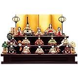 雛人形 一秀 江戸木目込み人形 十五人揃い(15人) 三段飾り 書目 平安雛 幅74cm [i-20-d25] 木製三段セット ひな祭り