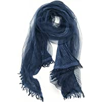 Scarf With Double Layers - OKEER Unisex Solid Color Silk Cotton Fabric Scarves Wraps