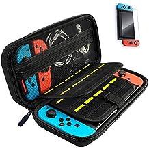 Nintendo Switch専用の保護ケース 任天堂スイッチ用 キャリングケース 外出 旅行用収納バッグ ナイロン素材 防塵 防汚 耐衝撃 高品質9H画面保護シート付きハンドストラップ付 ゲームカードケース