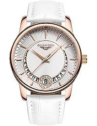 GUANQIN レディース クオーツ アナログ表示 時計 ステンレススチールと本革 カレンダー 防水 腕時計 (ホワイト)