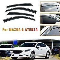のために適した マツダ Mazda 6 Atenza 2014-2018 4個 ドアバイザー サイドバイザー ワイドタイプ スモーク雨除け 換気 パーツ アクセサリー