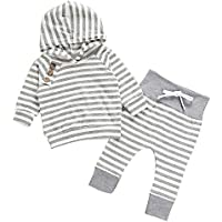 JIA&DI Baby Boys Girls Outfits Hooded Stripe Sweater Tops+Pants Outfits 2PCS Clothes Set for Autumn & Winter