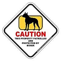 CAUTION PROPERTY PATROLLED マグネットサイン:ボクサー(Lサイズ) 注意 私有地 警備監視中 英語書き アメリカンマグネット カーマグネットステッカー