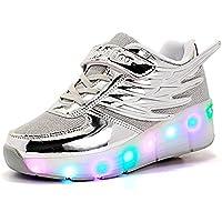 ローラーシューズ 子供LEDシューズ キッズ 発光シューズ ローラースケート靴 マジックテープ スニーカー