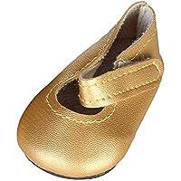 ノーブランド品  スティッキー ストラップ フラット レザー  靴 18インチアメリカンガールドール用 5色選べる - ゴールド