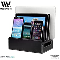 MobileVision Charging Station Slim Black Faux Leather Executive Stand and Docking Organizer for Multiple Devices Smartphones Tablets & Laptops [並行輸入品]