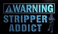 LED看板 ネオンプレート サイン 電飾・店舗看板・標識・サイン カフェ バー ADV PRO n075-b Warning Stripper Addict Neon Light Sign