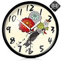 18-AnyzhanTrade 壁掛け時計サイレントムーブメント壁掛け時計ホームオフィスの装飾用リビングルームベッドルームとキッチン時計壁アートフォームパターンクリエイティブクォーツ時計 (Color : Black Metal Box, サイズ : 10 In)