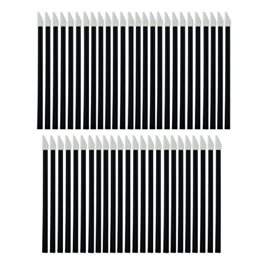 キャッチ極めて重要な下向きCUTICATE 使い捨てリップブラシ 化粧ツール 化粧用品 約50枚 全2色 - ブラック