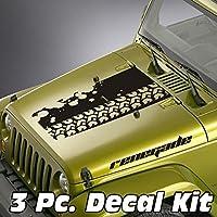jeepazoid–ジープラングラーブラックアウトデカールキット–Tire Tread Splatter Renegade レッド jeep blackout kit 0004 red