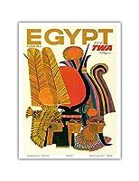 エジプト - TWA (トランス・ワールド航空)で飛ぶ - アラブ共和国(U.A.R.) - エジプトのファラオ - ビンテージな航空会社のポスター によって作成された デイヴィッド・クライン c.1960s - アートポスター - 23cm x 31cm