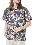 (ルーシャット) ROUSHATTE 綿100% 裏プリント 総柄 オープンカラー 半袖 アロハシャツ ハイビスカス柄 / M