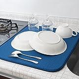 mikketa 水切りマット キッチン 食器 大判 速乾 吸水 ブルー 【全8色】