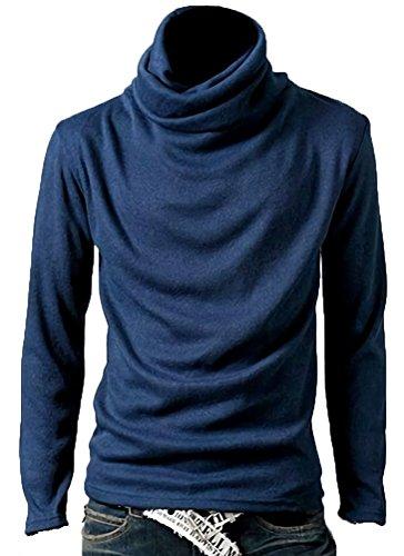 (アスペルシオ) aspersio メンズ モックネック 無地 インナー シャツ カジュアル ゆったり ハイネック カットソー タートルネック 大きい サイズ 大き目 大きめ ゆる ウェア スリム ロング丈 ロング 長袖 スマート 防寒 あったか メンズ服 タートル 襟 厚手 細身 厚地 クラシック ストリート 襟付き v系 カッコイイ ストレッチ 藍 藍色 ブルー あおいろ (2XL) 青色