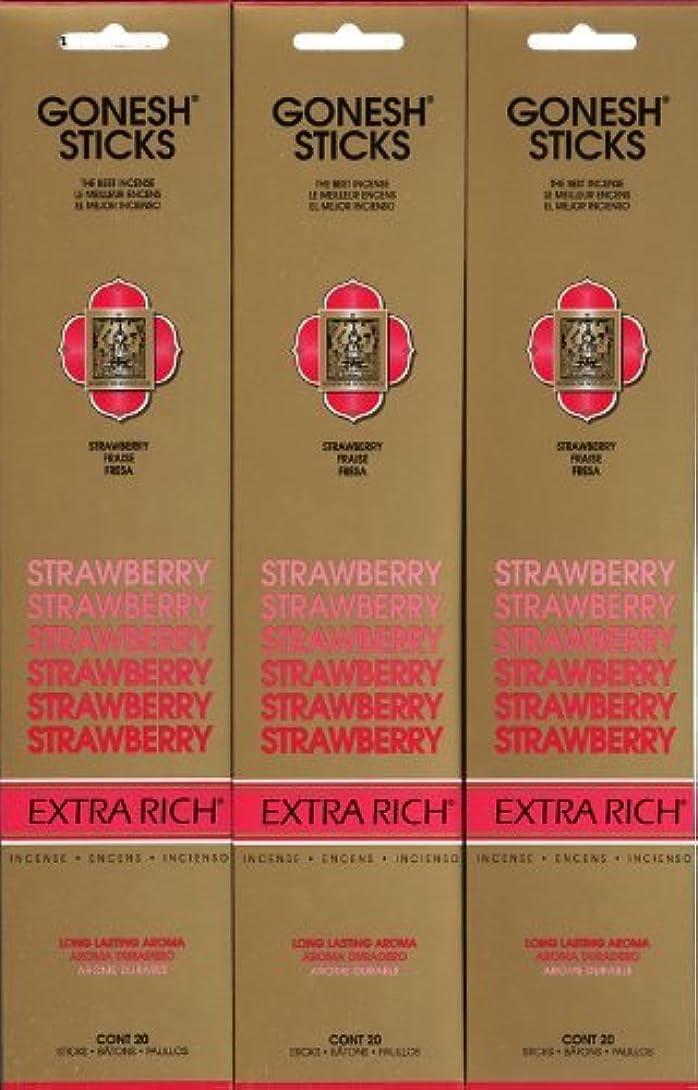 あえぎリークディスパッチGONESH STRAWBERRY ストロベリー スティック 20本入り X 3パック (60本)