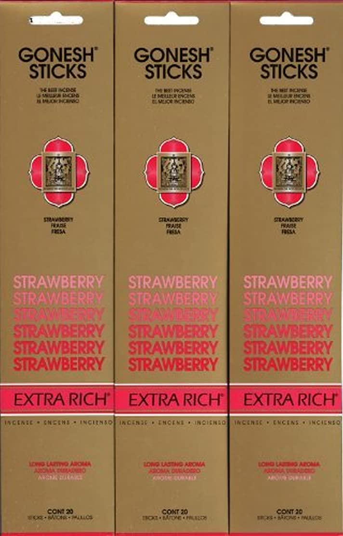 音楽を聴く記念碑スキャンGONESH STRAWBERRY ストロベリー スティック 20本入り X 3パック (60本)