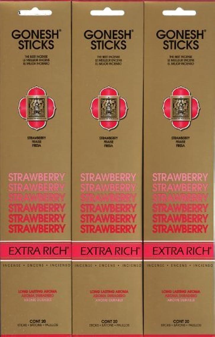 嫌悪ネコ伝染性のGONESH STRAWBERRY ストロベリー スティック 20本入り X 3パック (60本)