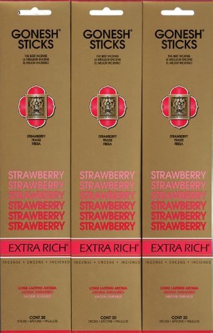 トーナメント五月十年GONESH STRAWBERRY ストロベリー スティック 20本入り X 3パック (60本)
