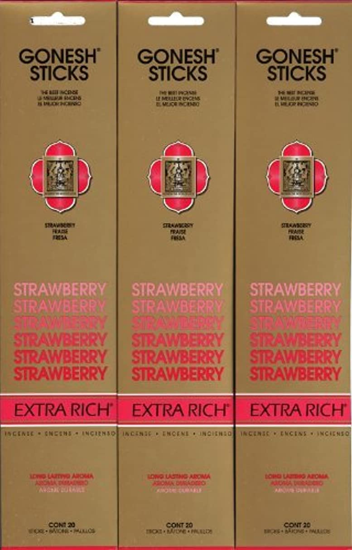 パトロンシャイニング誇りGONESH STRAWBERRY ストロベリー スティック 20本入り X 3パック (60本)