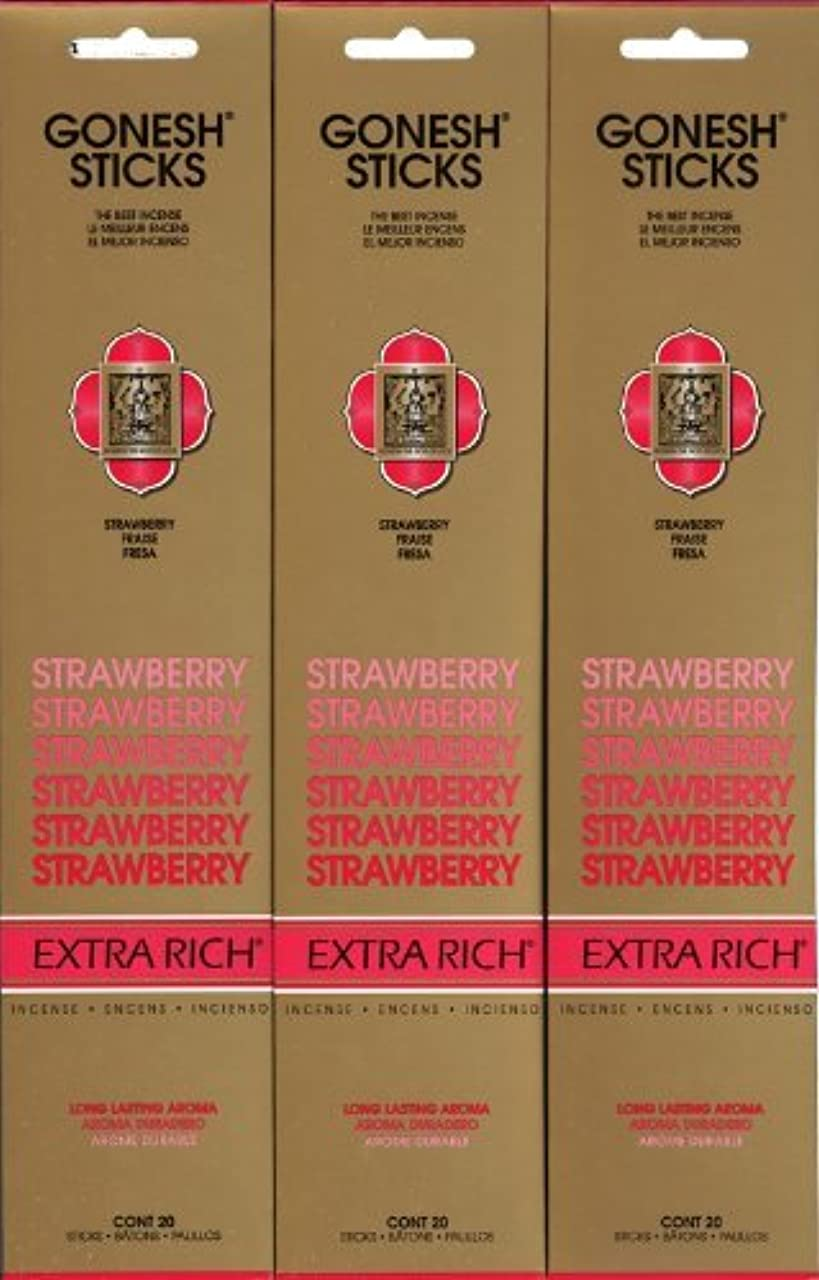 シチリア聡明バケツGONESH STRAWBERRY ストロベリー スティック 20本入り X 3パック (60本)