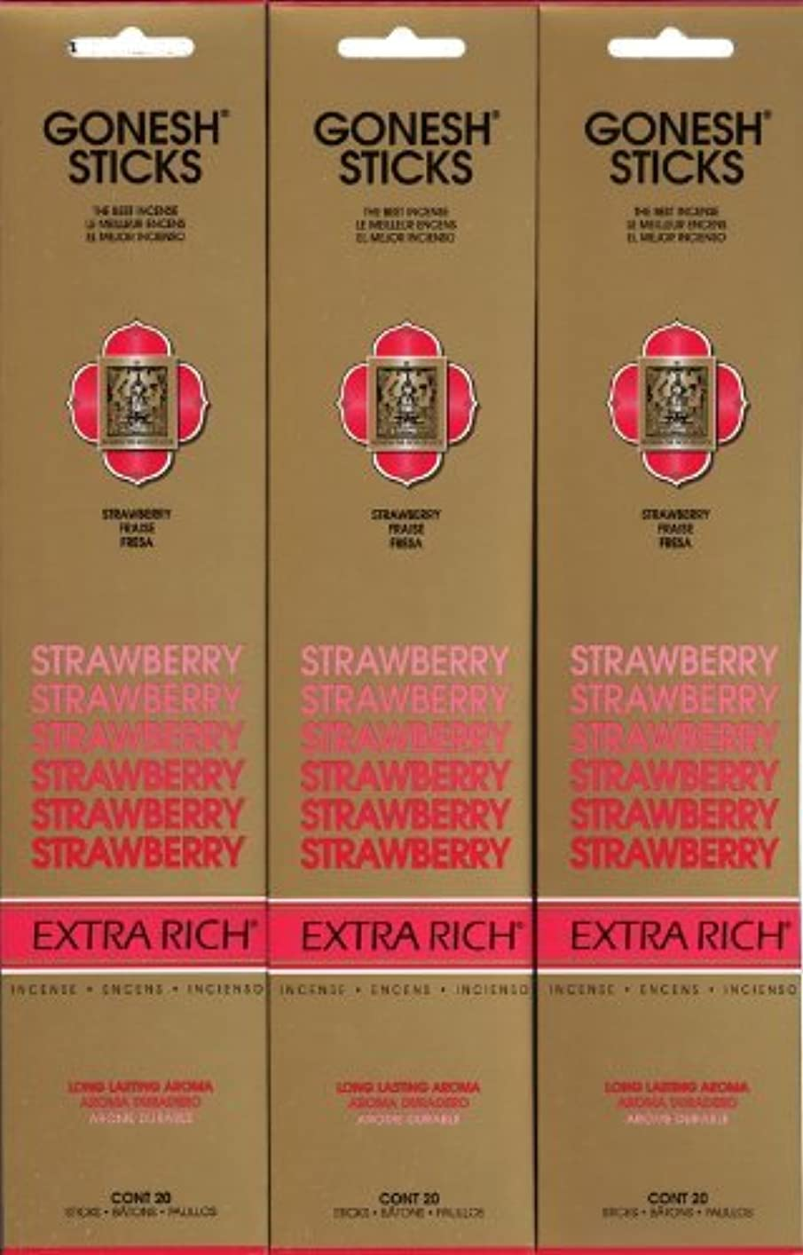 ファイル病的真っ逆さまGONESH STRAWBERRY ストロベリー スティック 20本入り X 3パック (60本)