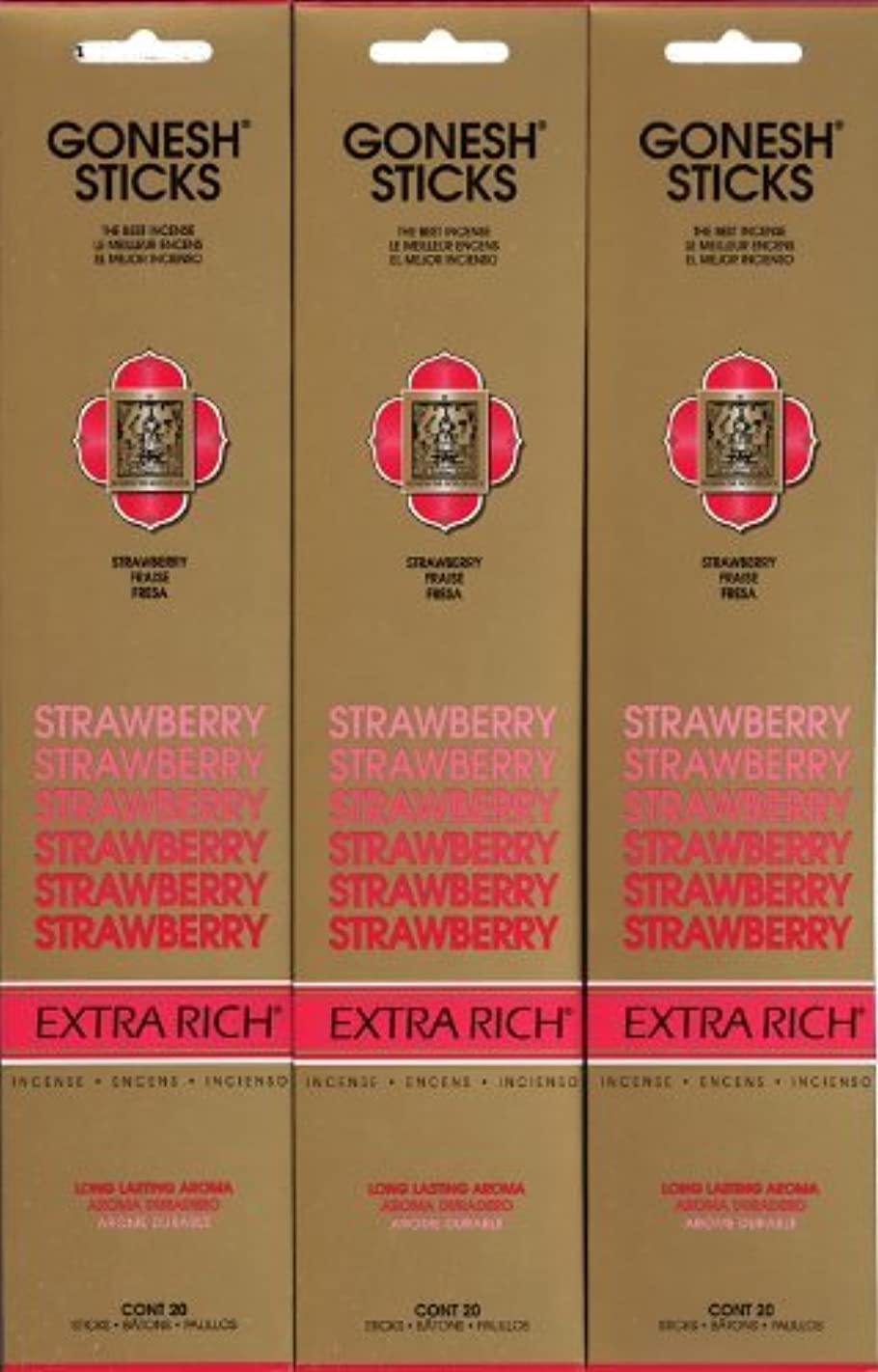 扱う迫害定常GONESH STRAWBERRY ストロベリー スティック 20本入り X 3パック (60本)