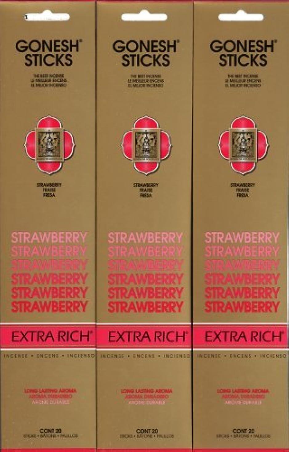 治世お祝い杖GONESH STRAWBERRY ストロベリー スティック 20本入り X 3パック (60本)