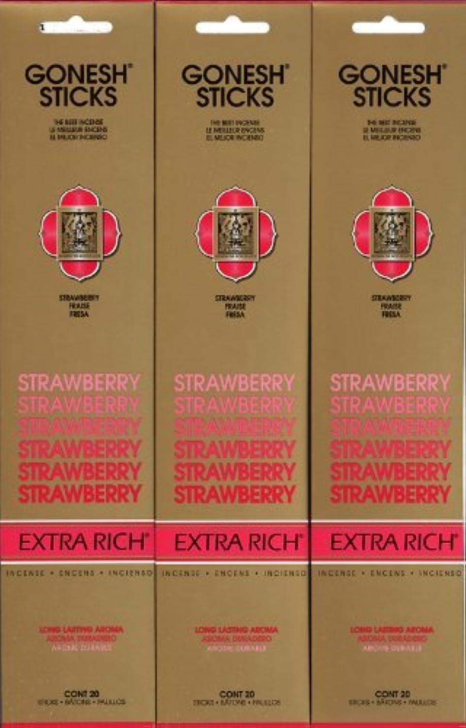 ロケーション読み書きのできない赤字GONESH STRAWBERRY ストロベリー スティック 20本入り X 3パック (60本)