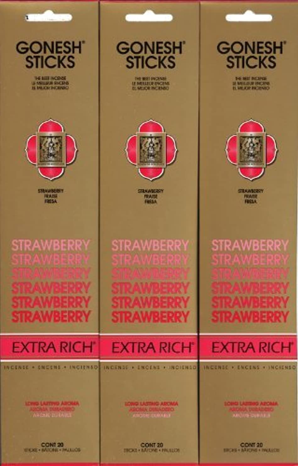 野ウサギクモレッスンGONESH STRAWBERRY ストロベリー スティック 20本入り X 3パック (60本)