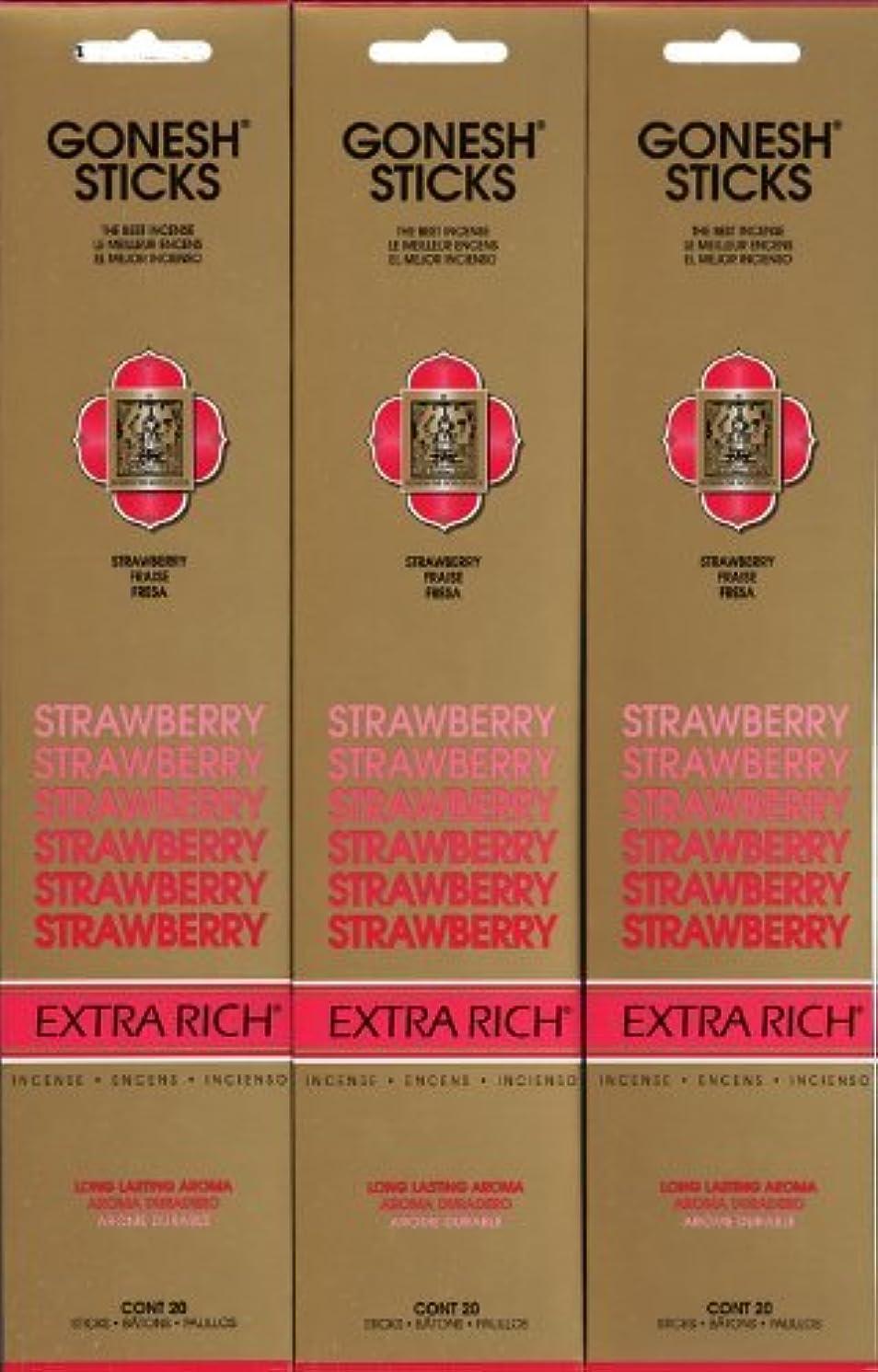 百年衣装出会いGONESH STRAWBERRY ストロベリー スティック 20本入り X 3パック (60本)