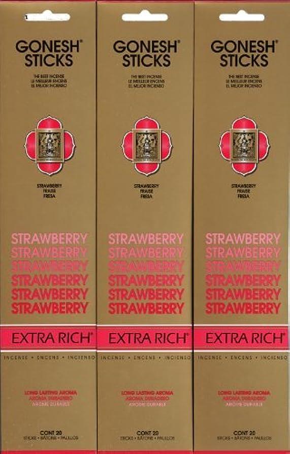 GONESH STRAWBERRY ストロベリー スティック 20本入り X 3パック (60本)