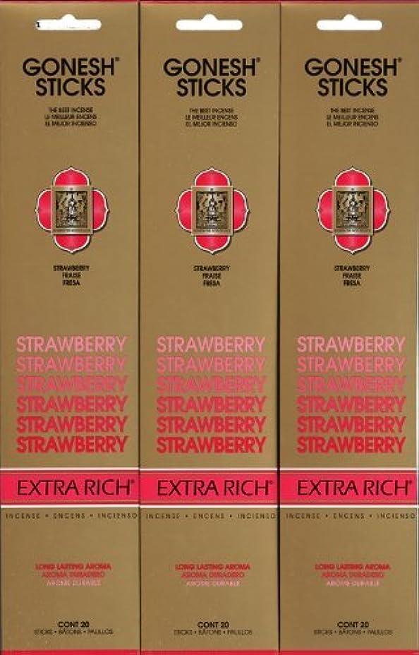 クローゼットドライブ目に見えるGONESH STRAWBERRY ストロベリー スティック 20本入り X 3パック (60本)