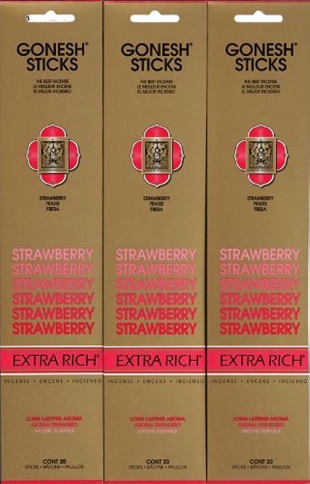 感じる明らか単にGONESH STRAWBERRY ストロベリー スティック 20本入り X 3パック (60本)