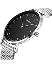 Tonnierステンレス鋼メンズブラックフェイススリムクォーツ時計(シルバー)