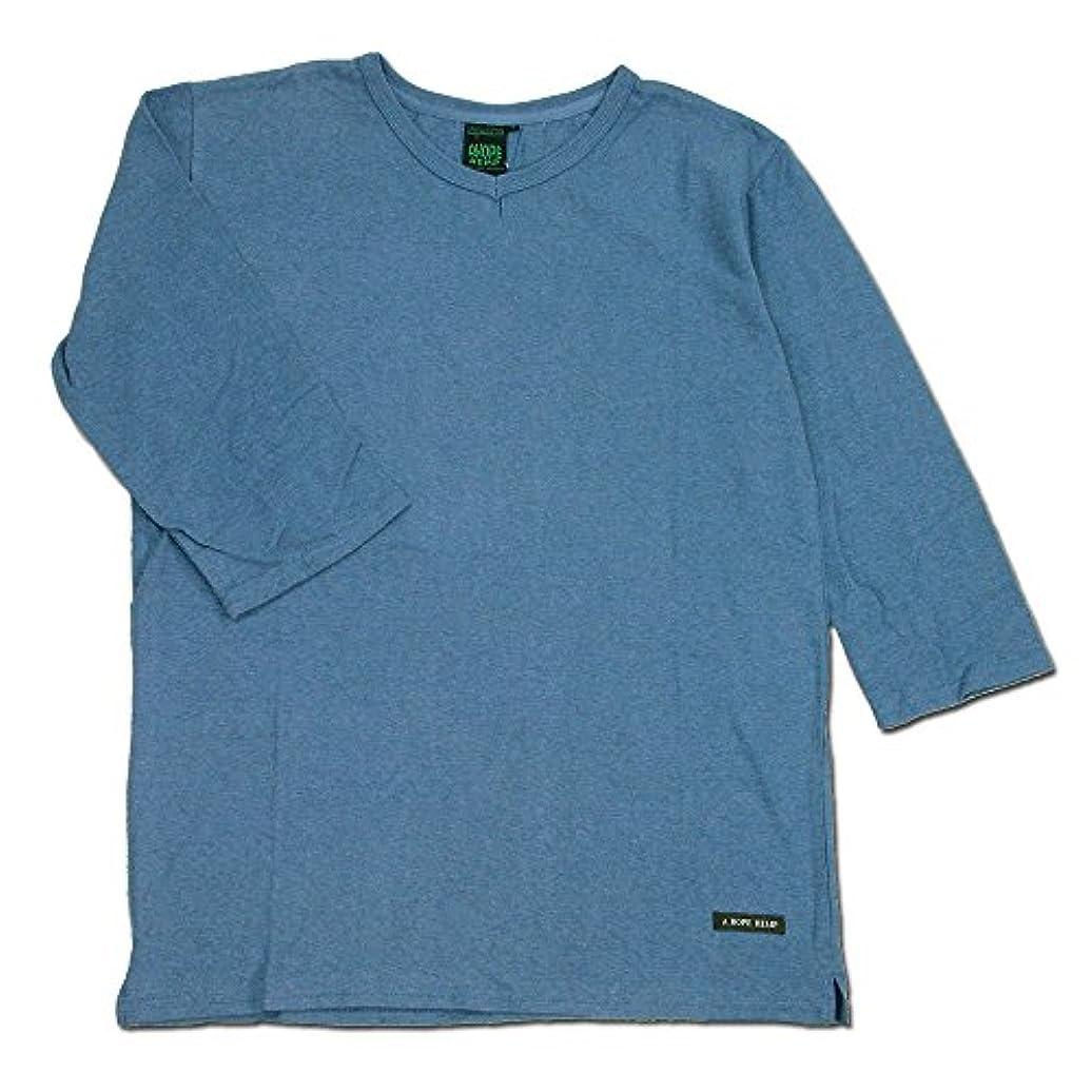 製品安定しました抑圧する(アホープヘンプ) A HOPE HEMP LOW V NECK 3/4 T-SH ヘンプコットンVネック7分袖Tシャツ BLUE