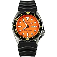 Seiko SKX011 J1 Black with Orange Face Automatic 200m Men's Analog Divers Watch (Made in Japan)