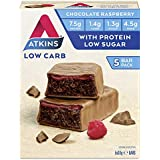 Atkins Chocolate Raspberry Bars | Keto Friendly Bars | 5 x 30g Low Carb Chocolate Bars | Low carb, Low Sugar, High Protein, High Fibre | 5 Bar Pack