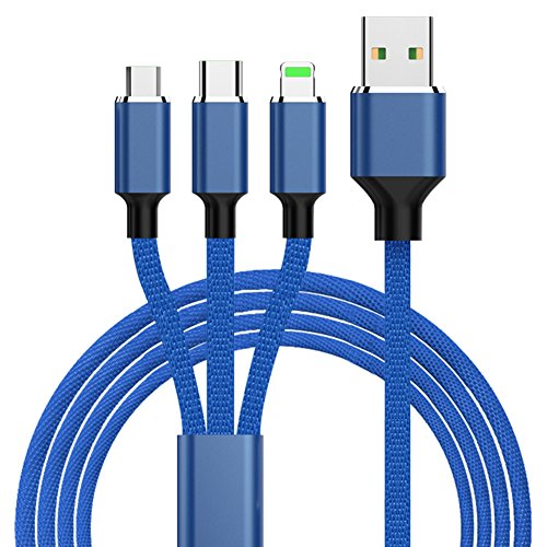 Anzn ライトニングケーブル/ Micro USB ケーブル/ USB Type-C 3in1充電ケーブル3A急速充電 iOS / Android 同時給電可能 iPhone x/8 8plus 7 7 plus / 6 6s plus / iPad / Macbook 1本3役 多機種対応 1.2m (ブルー)