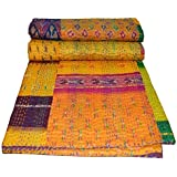 Yuvancrafts Indian Handmade Silk Patola Patchwork Kantha Quilt Traditional Silk Multi Color Kantha Throw Blanket Bedspread Co