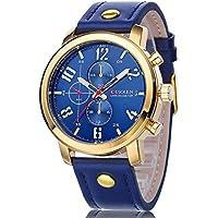 La bellezza CURREN クオーツ メンズ カジュアル 腕時計 レザーベルト クロノグラフ 大きな文字盤 デカウォッチ 30m 生活防水 013