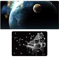 特大ゲーミングマウスパッド+小型マウスパッドセット、サイファイ宇宙風景、大型3mm厚ノンスリップ防水、ゲームE-スポーツテーブルマットは、カ