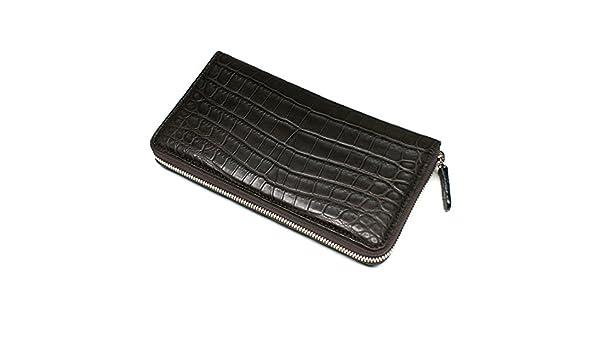 2726c0216aa4 Amazon | CRM1114-CHOCO クロコダイル革ラウンドファスナー長財布 Lサイズ マット仕上げチョコ | オリジナルパース・ナカムラ |  財布