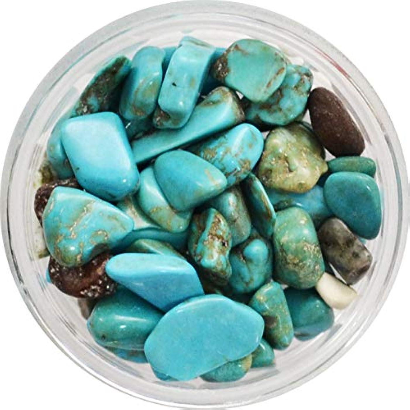 ウェイトレスの慈悲で飲料天然石のネイルパーツ Natural Stones 丸いプラスチックケース入り (ターコイズカラー)