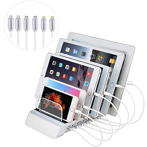 Evfun USB充電スタンド 収納充電 6ポート同時充電 充電ステーション 1A /2.4A iPhone iPod iPad Android スマホ/タブレット対応 (6本ケーブル付き)