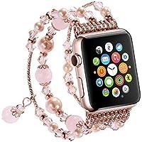 Newest Apple Watch 3/2/1 Replacement Band, Fashion Beaded Bracelet, Cool Birthday Wedding Women Girls, Apple Watch Series