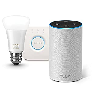 Amazon Echo、サンドストーン (ファブリック) + Philips Hue ホワイトグラデーション シングルランプ + Philips Hue ブリッジ