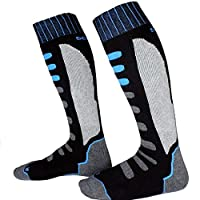 1Pairユニセックス厚み付け暖かいスキーソックス汗サーマル冬ORTSスノーボードソックスサイクリングハイキングスキー脚ストッキング#1126アブゾーブ:42に黒青809、39