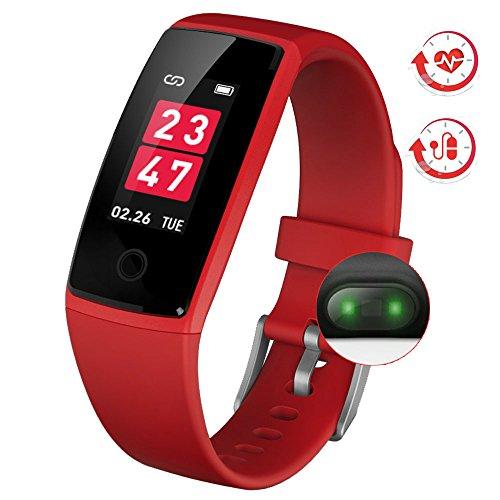 最新版 スマートウォッチ カラースクリーン 血圧 活動量計 心拍計 歩数計 スマートブレスレット 防水 ランニングモード リアルタイム測り 電話着信 LINE SMS 他のAPP通知 iphone&Android対応 日本語説明書 2018 (レッド)