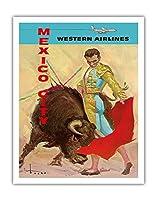 メキシコシティ - 闘牛マタドール - ウェスタン航空 - ビンテージな航空会社のポスター によって作成された ホセ・マリア・チューサー・バスケス c.1960s - アートポスター - 28cm x 36cm